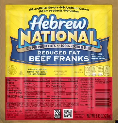 Hebrew Reduced Fat Beef Franks Perspective: front