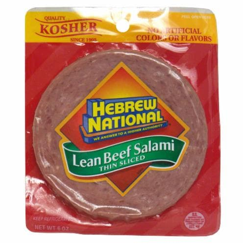 Hebrew National Thin-Sliced Lean Beef Salami Perspective: front