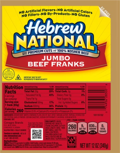 Hebrew National Jumbo Beef Franks Perspective: front