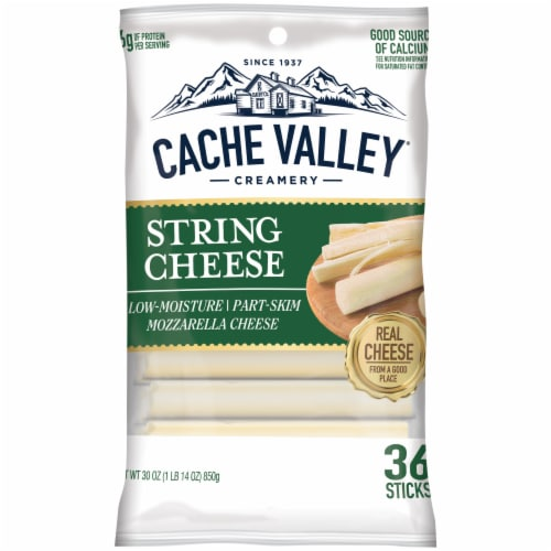 Cache Valley Mozzarella String Cheese Sticks 36 Count Perspective: front