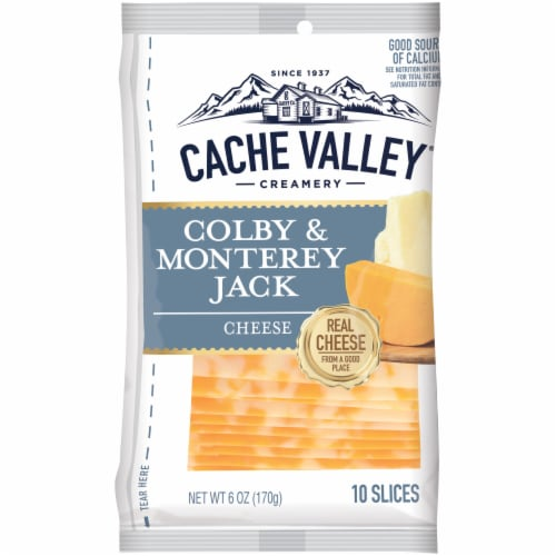 Cache Valley Colby & Monterey Jack Cheese Slices 10 Count Perspective: front
