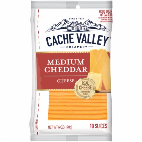 Cache Valley Medium Cheddar Cheese Slices 10 Count Perspective: front