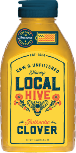 Local Hive Authentic Clover Raw & Unfiltered Honey Perspective: front