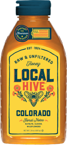 Local Hive Colorado Raw & Unfiltered Honey Perspective: front