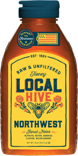 Local Hive Northwest Raw & Unfiltered Honey Perspective: front