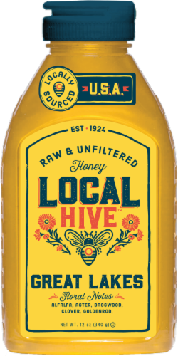 Local Hive US Great Lakes Raw & Unfiltered Honey Perspective: front