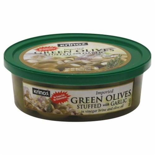 Krinos Olives Green Olives Perspective: front