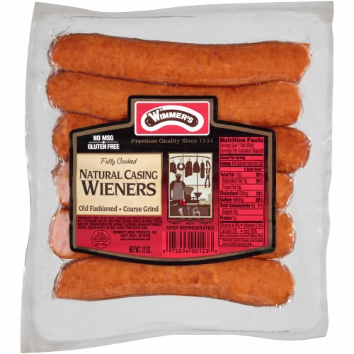 Wimmer's Natural Casing Wieners Old Fashioned Coarse Grind Perspective: front