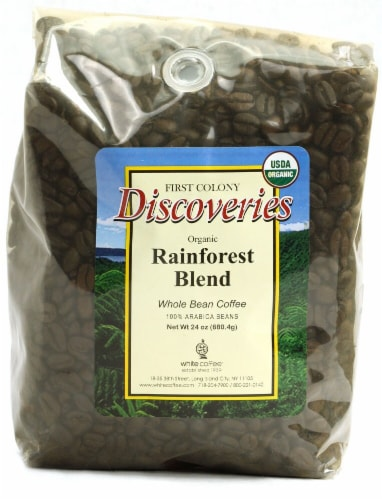 First Colony Discoveries Organic Whole Bean Coffee  Rainforest Blend Perspective: front