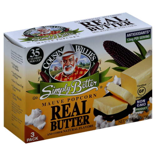 Cousin Willie's Simply Better Real Butter Popcorn Perspective: front