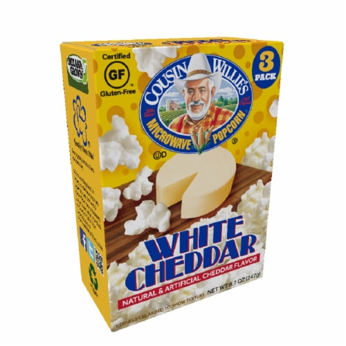 Cousin Willie's White Cheddar Popcorn 3 Count Perspective: front