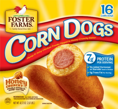 Foster Farms® Honey Crunchy Chicken Corn Dogs Perspective: front