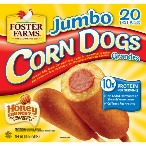 Foter Farms 20 Count Jumbo Corn Dogs Perspective: front