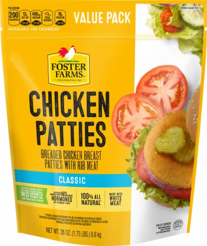 Foster Farms Classic Breaded Chicken Patties Perspective: front