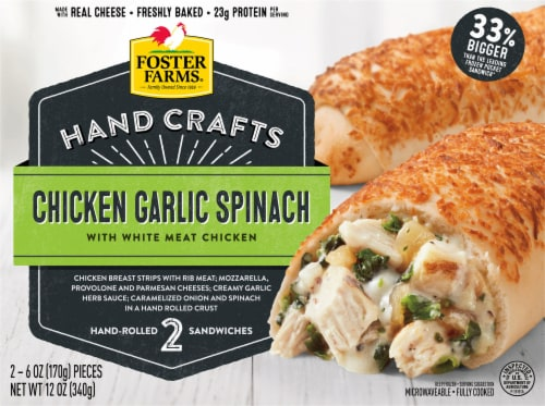 Foster Farms Chicken Garlic Spinach Hand-Rolled Sandwiches Perspective: front