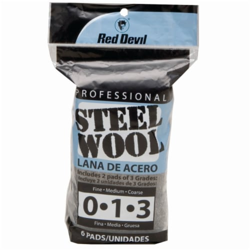 Red Devil® Professional Multi-Grade Steel Wool Pads - 6 Count Perspective: front