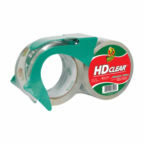 Duck® HD Clear Heavy-Duty Packaging Tape & Dispenser Perspective: front