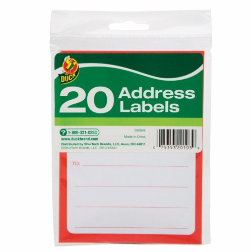Duck 3-1/2 in. W x 4-1/2 ft. L Address Labels - Case Of: 12; Each Pack Qty: 20; Total Items Perspective: front