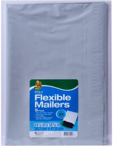 Duck® Poly Flexible Mailers - 5 pk - White Perspective: front