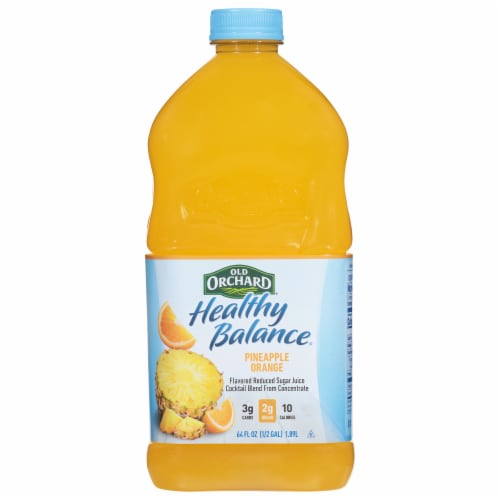 Old Orchard Healthy Balance Reduced Sugar Pineapple Orange Juice Cocktail Perspective: front