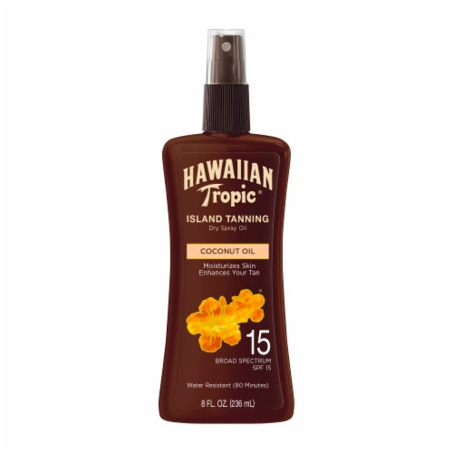 Hawaiian Tropic Island Tanning Dry Spray Oil SPF 15 Perspective: front
