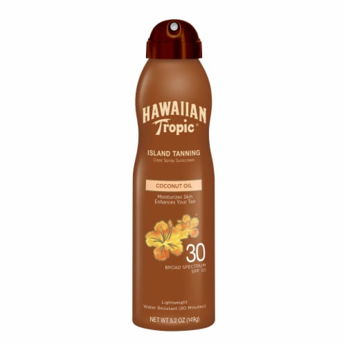 Hawaiian Tropic Dry Oil Clear Spray Broad Spectrum SPF 30 Sunscreen Perspective: front