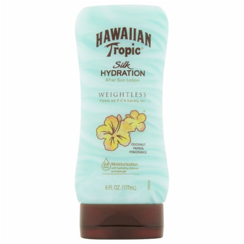 Hawaiian Tropic Silk Hydration Weightless Coconut Papaya Fragrance After Sun Lotion Perspective: front