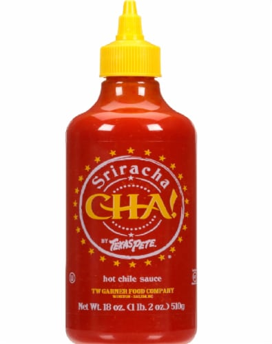 Texas Pete Sriracha Cha Hot Chile Sauce Perspective: front