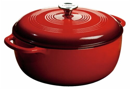 Lodge Enameled Cast Iron Dutch Oven - Red Perspective: front