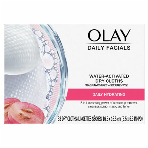 Olay Daily Facials Daily Hydrating Clean Grapeseed Extract Dry Cloths 33 Count Perspective: front