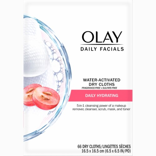Olay Daily Facials 5-In-1 Hydrating Cleansing Cloths with Grapeseed Extract Perspective: front