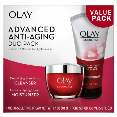 Olay Regenerist Advanced Anti-Aging Cleanser and Moisturizer Duo Pack Perspective: front