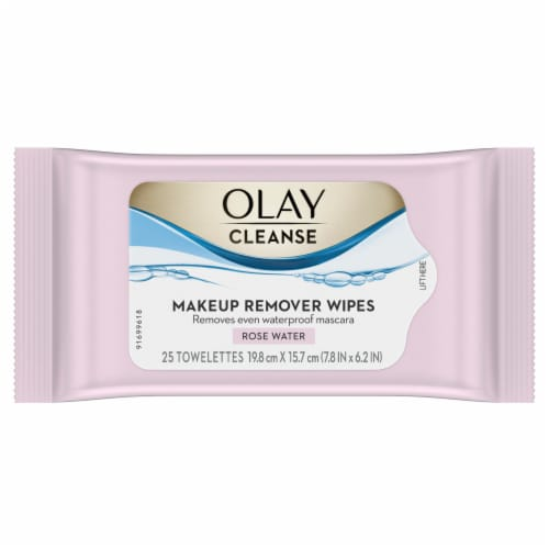 Olay Cleanse Rose Water Makeup Remover Wipes Perspective: front