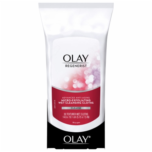 Olay Regenerist Micro-Exfoliating Wet Cleansing Cloths 30 Count Perspective: front