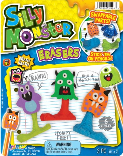 JA-RU Silly Monster Erasers Perspective: front