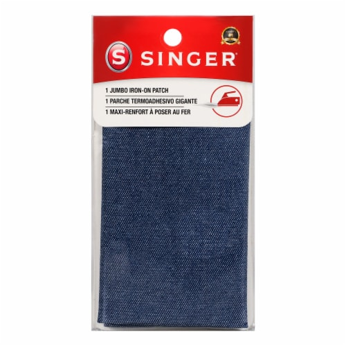 SINGER® Iron-On Jumbo Denim Patch - Blue Perspective: front