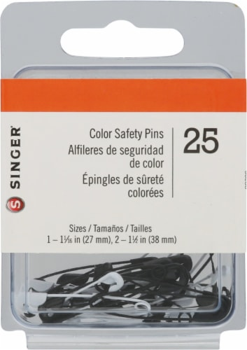 SINGER Color Safety Pins - Black/White Perspective: front
