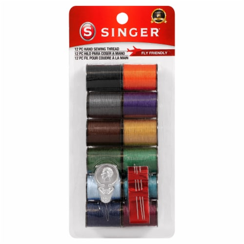 SINGER Polyester Hand Sewing Thread Spools - Assorted Dark Colors Perspective: front