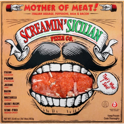 Screamin' Sicilian Mother of Meats Pizza Perspective: front