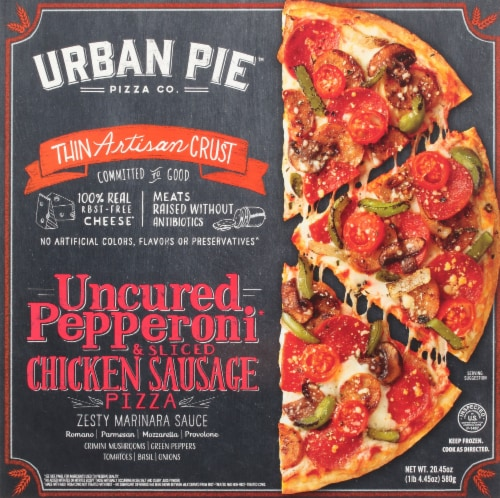 Urban Pie Pizza Co. Thin Artisan Crust Pepperoni & Chicken Sausage Frozen Pizza Perspective: front