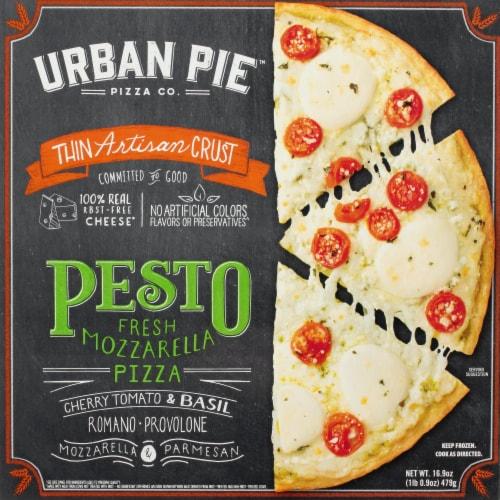 Urban Pie Pizza Co. Thin Artisan Crust Pesto Fresh Mozzarella Pizza Perspective: front