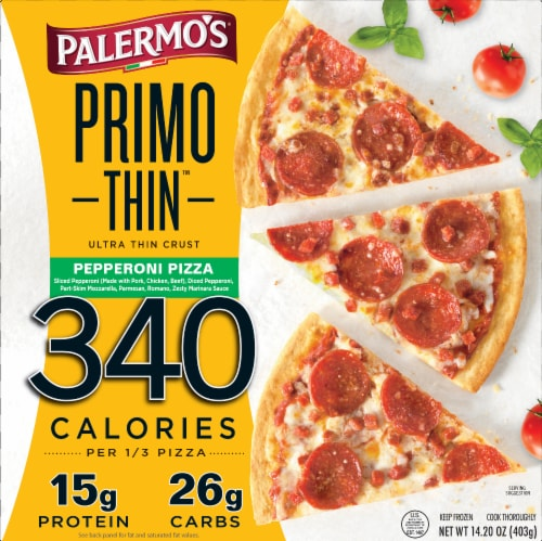 Palermo's Primo Thin Ultra Thin Crust Pepperoni Pizza Perspective: front