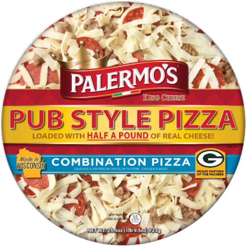 Palermo's King Cheese Pub Style Combination Pizza Perspective: front