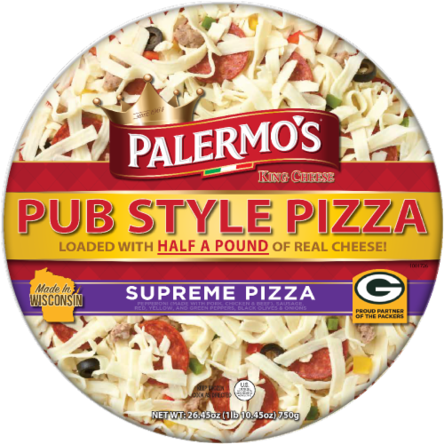 Palermo's King Cheese Pub Style Supreme Pizza Perspective: front
