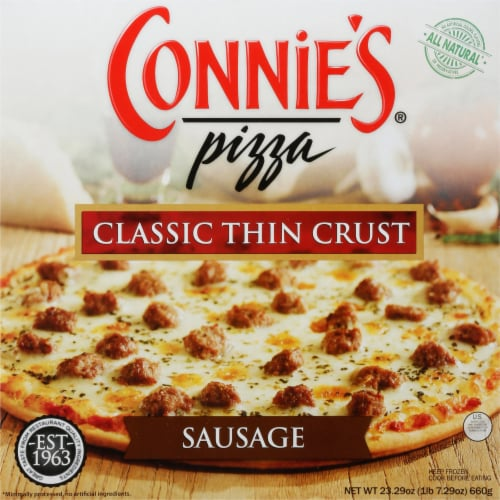 Connie's Classic Thin Crust Sausage Pizza Perspective: front