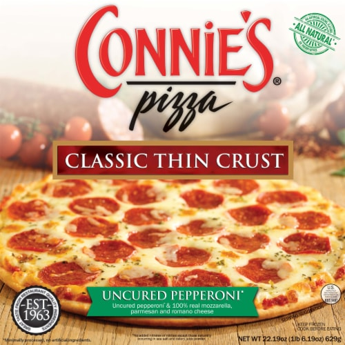 Connie's Classic Thin Crust Uncured Pepperoni Pizza Perspective: front