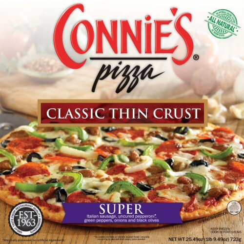 Connie's Classic Thin Crust Super Pizza Perspective: front