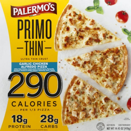 Palermo's Primo Thin Ultra Thin Crust Garlic Chicken Alfredo Pizza Perspective: front