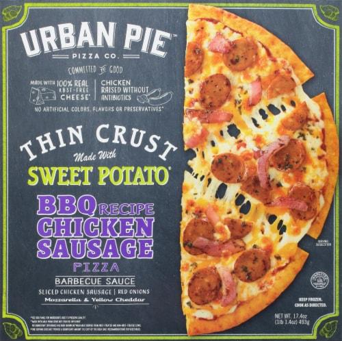 Urban Pie Pizza Co. BBQ Recipe Chicken Sausage Pizza Perspective: front