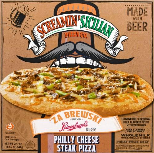 Screamin Sicilian 'Za Brewski Philly Cheese Steak Pizza Perspective: front